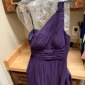 Donna Morgan bridesmaid dress purple